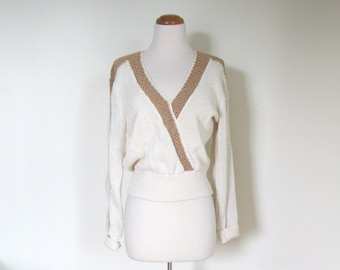 Vintage 80s Glam sweater / Designer Lilli Ann sweater / Shimmer natural tones knit sweater