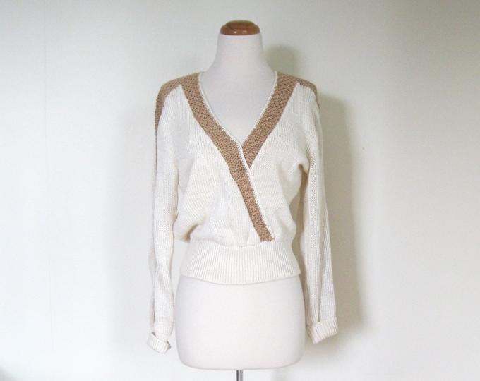 Vintage 80s Glam sweater / Designer Lilli Ann sweater / Shimmer natural tones knit sweater