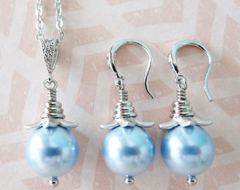 Simple Pearl Jewely Set with Swarovski Pearl Drop, Earrings, Necklace, Silver Wedding Bridal Brides Bridesmaid, blue pearl, everyday pretty