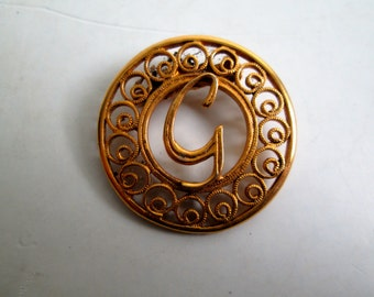 Vintage Gold Metal  Initial G, Brooch, Pin.  1950's, 1960's