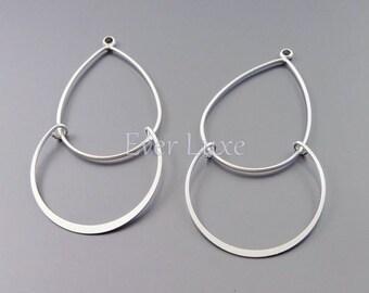 4 MATTE silver brass delicate double chandelier pendants, diy jewelry making supplies, craft supplies 1125-MR (matte silver, 4 pieces)