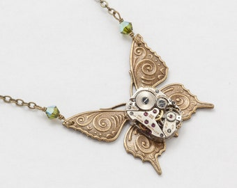 Steampunk Necklace Vintage silver watch movement gears olivine green crystal gold butterfly Statement Necklace Gift Steampunk Jewelry 2457