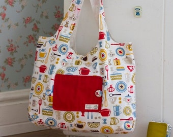 no 196 Eco Friendly Portable Shopping Bag PDF Sewing Pattern - Instant Download