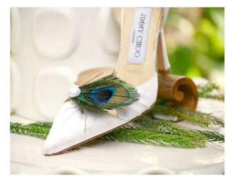 Wedding Shoe Clips Iridescent Peacock & Pearl / Rhinestone Gem. Stylish French Chic. Emerald Teal Green Aqua Blue. Bride Bridal Bridesmaid