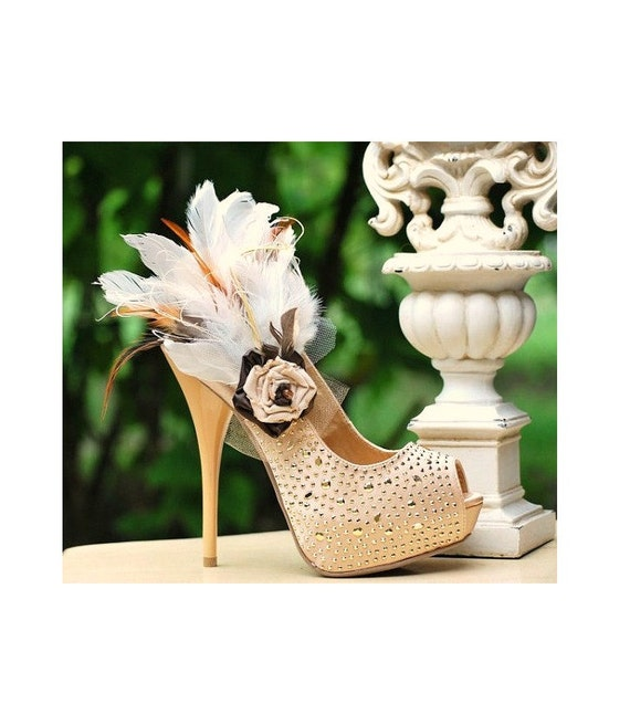 Fancy Feathered Shoe Clips. Beige Tan Almond Ivory, Night Out Sexy Sophisticated Wedding Fashion Designer Style, Statement Formal Event Gala