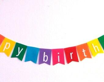 Happy Birthday Rainbow Pennant Bunting Banner Flag Felt Garland