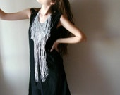 Grey Silver glittery long Fringe Necklace, both sides festival jewelry