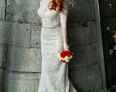Alencon Lace Wedding Dress with Sleeves and Modest Keyhole Back