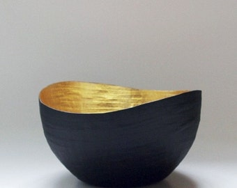 Paper Mache Vessel, Black and Gold Paper Bowl, Paper Mache Bowl, Gold Leaf Vase