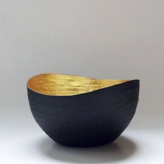 Paper Mache Vessel,Black and Gold Paper Bowl, Paper Mache Bowl, Gold Leaf Vase