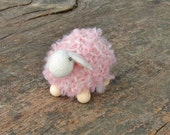 Tiny pink woolen sheep - 1 pcs, waldorf toys. stufed toys. farm animal toys for playscape