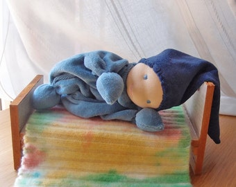 Blue jeans waldorf gnome soft veluor doll for baby boy toys- Rattle toy, cuddle.
