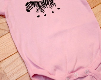 Zebra Zak Screen Printed Onesie