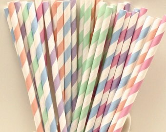 Paper Straws, 25 Pastel Striped Paper Straw Assortment, Princess Party, Mason Jar Sippers, Baby Shower, Vintage Wedding Straws, Shabby Chi