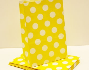 "Paper Bag, Yellow Dot Paper Candy Bags, ""Stand Favor Bags, Wedding Favors, Kids Birthday, Easter, Construction Zone, Bumble Bee Party"