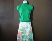 Vintage Vivid Neon Floral Skirt, Size L/XL