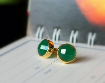Emerald Green Onyx Bezel Set Stud Post Earrings.....LIMITED EDITION