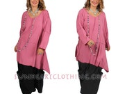 SunHeart BOHO PiNk lagenlook TOP hippie chic small medium large extra large 1x 2x 3x 4x