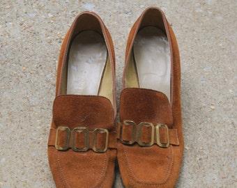 Vintage Rust Suede Mod Loafers 5.5