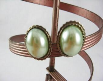 Blue Green Earrings, Blue Pearl Earrings Stocking Stuffers, Pierced Earrings, Post Earrings, Blue and Silver Earrings, Vintage Stud Earrings