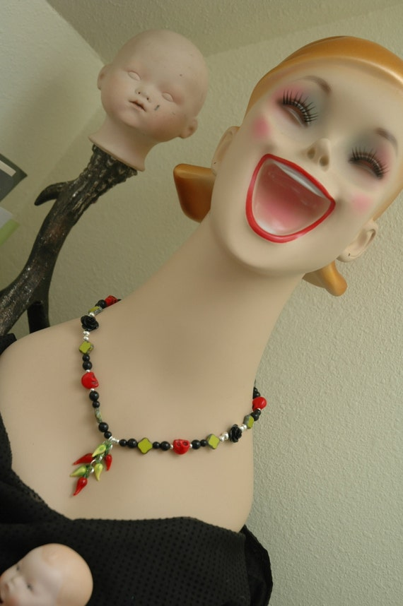 Day of the dead necklace red glass chile new by ambientatelier for Custom jewelry albuquerque new mexico