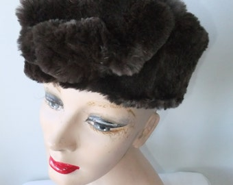 Vintage Hat Faux Fur Dark Brown Ladies Accessories Soft Winter Cold Weather
