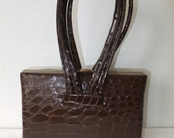 Vintage Handbag Purse Faux Alligator Brown Vinyl with Gold Tone Retro Accessories Womens Ladies