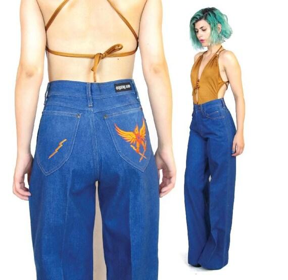 70s High Waisted Wide Leg Jeans Denim Bell Bottoms