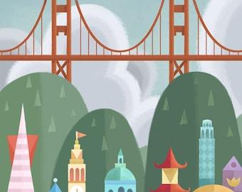 San Francisco Small World   Fine Art Print   Mary Blair Inspired Small World SF Bay Area   8x10   11x14   13x19   Flimflammery