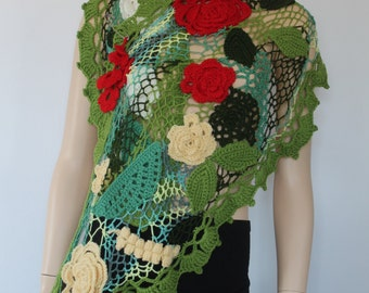 OOAK / Freeform Crochet Bohemian Floral  Scarf - Shawl with Silver Pin / Irish Crochet Lace / 3D Flowers / Art Scarf