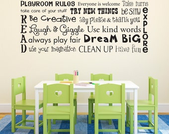 Playroom Rules Wall Decal - Children Wall Decal Sticker - Horizontal Large
