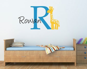 Giraffe Wall Decal with Initial & Name - Cartoon Giraffe Wall Sticker - Large