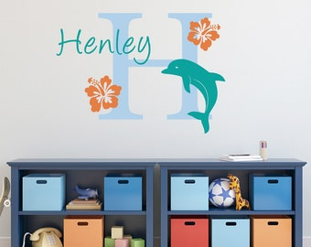 Dolphin Wall Decal with Initial, Name and Hibiscus Flowers - Dolphin Wall Decal - Personalized Wall Sticker - Large