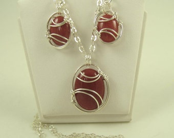 WS-0046 Mountain Jade Handmade Necklace and Earring Set Wire Wrapped with Sterling Silver Wire