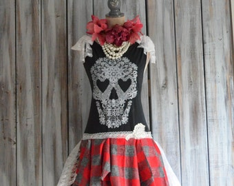 Halloween Skull dress, RESERVED fall tartan plaid, Romantic goth fall dresses, gothic princess lace skull, lagenlook, true rebel clothing