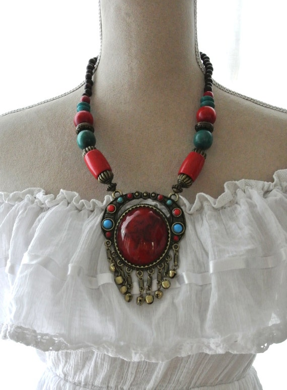 Vintage Necklace Bohemian Beaded Necklace Hippie Chic