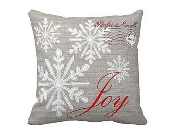 Christmas Holiday Pillow Grey and Red Snowflake Joy Cotton and Burlap Pillow