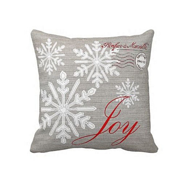 Christmas Holiday Pillow Grey And Red Snowflake Joy Cotton And