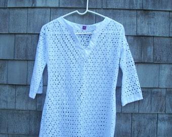 100% cotton hand-sewn eyelet beach tunic