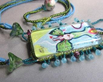 OOAK Symbolic Beaded Necklace Plant Spirit