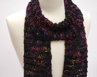 Alpaca Scarf- Hand Knit/  Purple/ Blue/ Rose, Mauve
