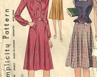 Simplicity 3688 / Vintage 40s Sewing Pattern / Dress Vest / Size 12