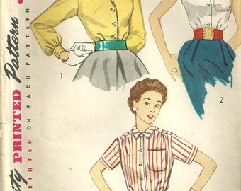 Simplicity 4256 // Vintage 50s Sewing Pattern // Blouse // Size 14 Bust 32
