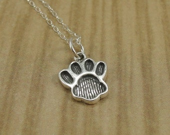 Paw Print Necklace, Sterling Silver Paw Print Charm on a Silver Cable Chain