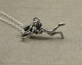 Scuba Diver Necklace, Silver Scuba Diver Charm on a Silver Cable Chain