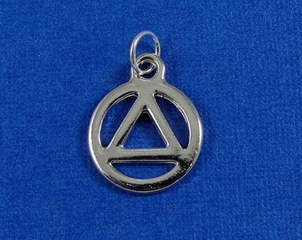 AA Recovery Charm - Silver Plated Recovery Symbol Charm for Necklace or Bracelet