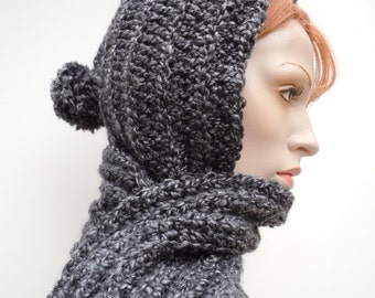 Charcoal Hooded Scarf - Charcoal Gray Scoodie - Hat and Scarf - Gray Pixie Hood