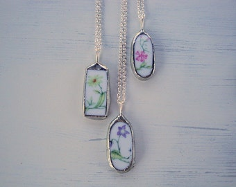 Sale - Broken China Purple Flower Necklace