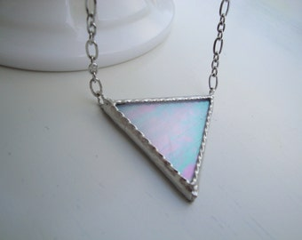 White Iridescent Stained Glass Triangle Necklace