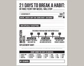 21 days to break a bad habit: printable pdf sheet